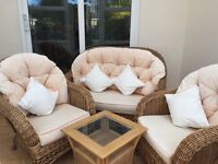 Conservatory furniture Used Rattan Sofa, 2 Chairs and Small Table