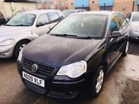 VW POLO 1.2 PETROL MANUAL 3 DOORS LOW MILEAGE 47000 2009 BLACK