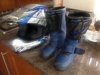 Trophy kids motocross boots and helmet