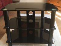 Black glass modern TV/HiFi stand – as new!