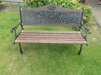 Garden Bench with cast iron ends and back