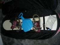 Jeff Brushie Ride 160 with bindings and bag.