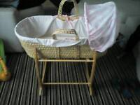 Baby girl moses basket with stand