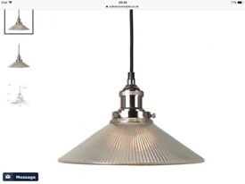 Nickel pendant with ribbed glass shade