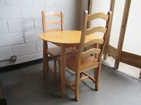 SOLID BEECH KITCHEN DINING TABLE WITH TWO SOLID BEECH DINING CHAIRS FREE DELIVERY