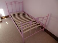 Next pink metal-frame single bed - NEW PRICE!