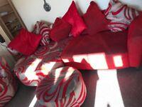 Corner sofa, chair and footstool