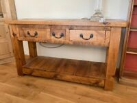 Consol Table with 3 Drawers - Distressed Chunky Pine