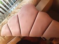 Single blush-pink padded headboard & fittings