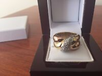 New Designer ring, solid 18k tri gold, yellow, rose and white, with diamonds