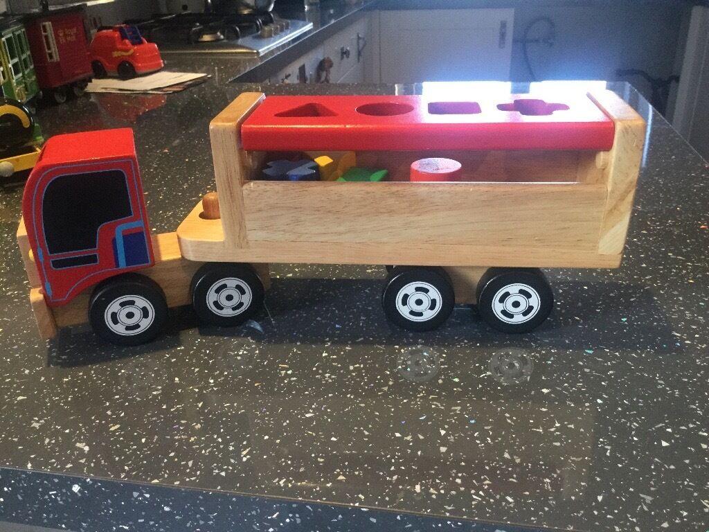 Wooden truck shape sorter