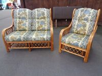 Cane Conservatory Suite. 2 Seater Sofa & Chair