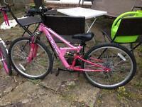 Girls pink mountain bike 18 gears
