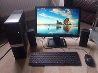 "HP Slimline desktop PC with 19"" HP LCD Widescreen Monitor, Keyboard & Mouse, WiFi, Windows 10"