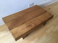 Rustic solid oak 3 beam coffee table, chunky vintage
