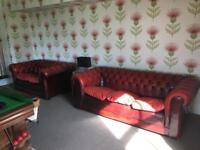 Red leather quality chesterfield sofas (2 seater & 3 seater)