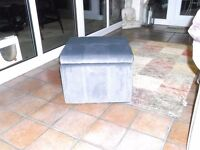 Grey Footstool with Internal Space - Brand New