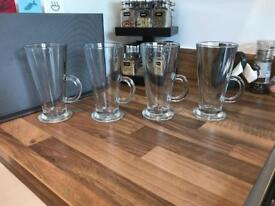 Latte coffee cups glasses set of 4
