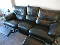 Black leather sofa - recliner - 3 seater - Good condition, no marks or rips - Collection only