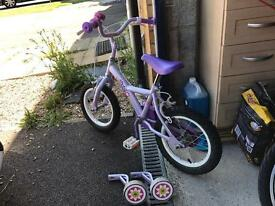 Apollo Girls Bike with stabilisers & helmet