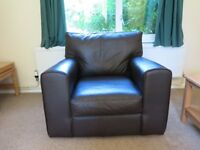 Dark Brown DFS Leather Armchair - Perfect Condition
