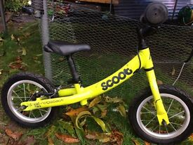 """'Scoot' bright yellow balance bike with 12"""" wheels suitable from age 2"""