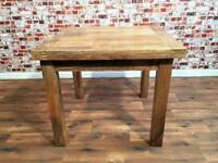 Extendable Folding Dining Table with Square Legs - Solid Hardwood