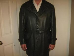 "38"" Long Leather Coat / removable warm lining/S-XXL"