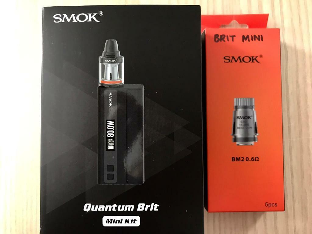 Smok Quantum Brit Mini Vape ecig kit 80win Congleton, CheshireGumtree - Smok Quantum Brit Mini Starter kit, boxed with all original accessories, 4 x brand new coils 0.6ohm.Smok Quantum 1 80 watt mod with Bluetooth technology (over the air updates). Temperature control output. Requires single 18650 battery.Smok Brit Mini...