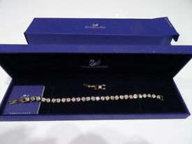 Gold plated Swarovski Tennis Bracelet 17cm in box as new £40