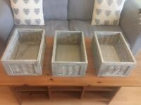 Wooden grey storage boxes