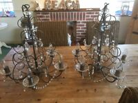 2x ceiling chandeliers