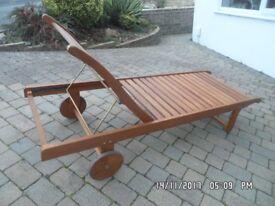 'Chichester' hardwood (Eucalyptus?) wheeled, reclining, sun-lounger