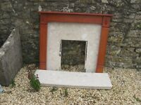 Wood and Marble Fire place