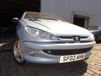 💥02 PEUGEOT 206 1.6 CC CONVERTIBLE,MOT SEPT 017,PART SERVICE HISTORY,3 OWNERS,STUNNING EXAMPLE💥