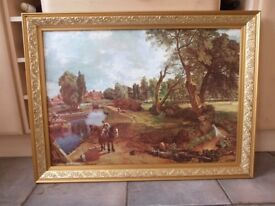 Vintage Flatford Mill Print by John Constable in Gilt Effect Wooden Frame