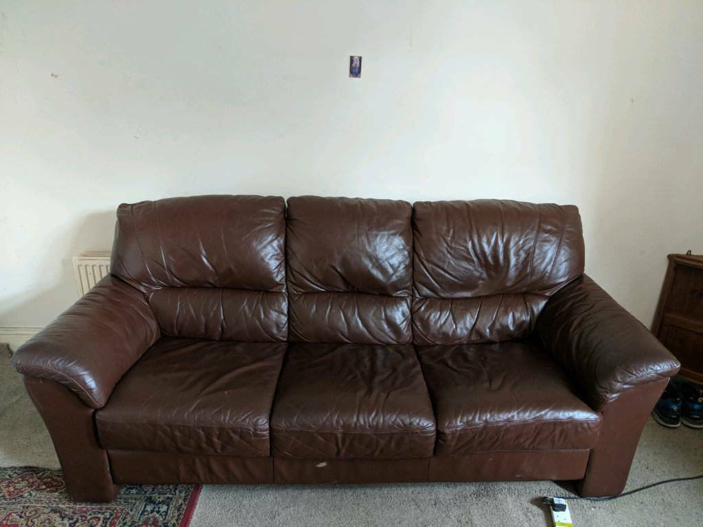 Used Big Brown Leather Sofa In South Normanton