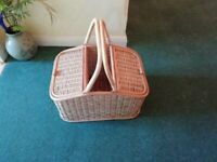 Wicker picnic hamper with 2 lidded sections and central open compartment, 2 handles