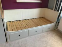 IKEA White Day-bed Frame with 3 drawers 80x200 cm