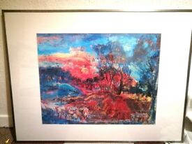 Two framed and glazed art prints 1mx75cm approx.