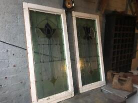 pair of charming tulip edwardian stained glass windows / many others also available £140