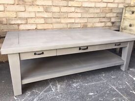 COFFEE TABLE FRENCH GREY PAINTED WITH DRAWERS SOLID WOOD