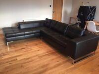 DWELL Vienna Black Leather Left hand corner sofa RRP £1999