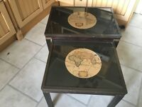 Lovely pair of rustic tables in brown with globe inserts glass tops really different x2 tables