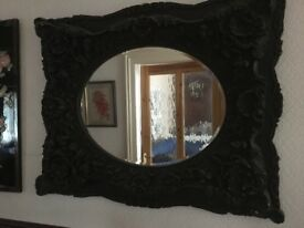 Decorative Large Matt Black Oval Mirror