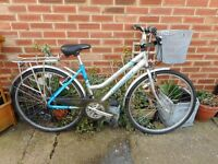 ladies hybrid silver and blue 18 inch frame claud butler bike with basket and lock
