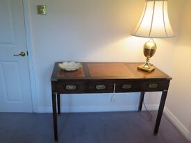 A Military Campaign style mahogany writing table desk