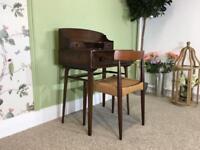 Vintage Dark Ercol Mid Century Elm Writing Desk Dressing Table Danish Teak Danish morgens kold chair