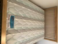 Wood Slatted Double Bed with Mattress - Almost New!