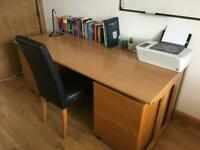 Commercial solid wood desk with 2 pedestals